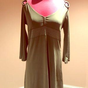 BCBG gunmetal cold shoulder dress